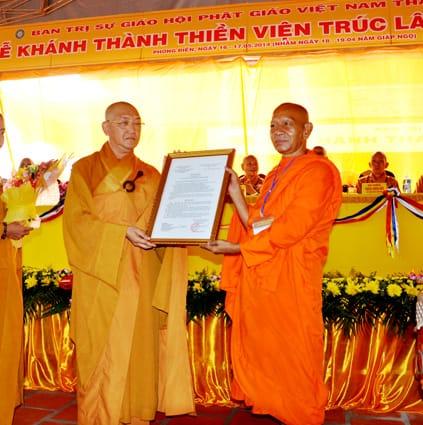 Đại đức Thích Bình Tâm được bổ nhiệm Trụ trì Thiền viện Trúc Lâm Phương Nam trong lễ khánh thành